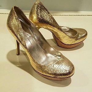 Jessica Simpson Shoes - Jessica Simpson gold crackle platforms