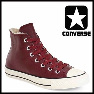 Converse Shoes - CONVERSE LEATHER SNEAKERS Faux Fur Lined High Tops
