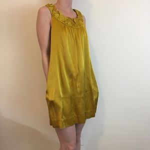 BCBGMaxAzria Dresses & Skirts - BCBGMaxAzria Gold Satin Babydoll Dress