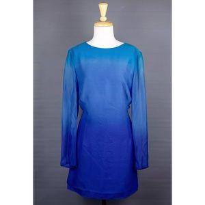 Akris Dresses & Skirts - Akris Blue Ombre Silk Long Sleeve Sheer Dress