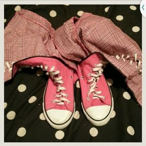 Magicsuit Shoes - Pink lace and zip high tops