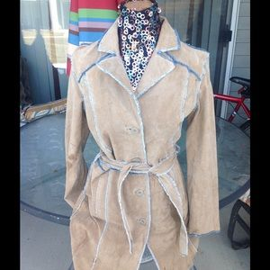Wilsons Leather Denim - Wllsons suede denim trench coat size large