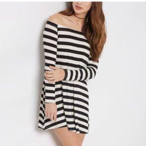 black white stripe off the shoulder dress, size L