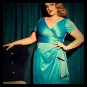 Pinup Girl Clothing  Dresses & Skirts - Pinup Girl Clothing Ava Dress in Aqua 4x