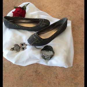 Rampage Shoes - Pretty grey beaded rampage flats used once