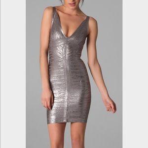 NWT Herve Leger Trista Foil XS Dress