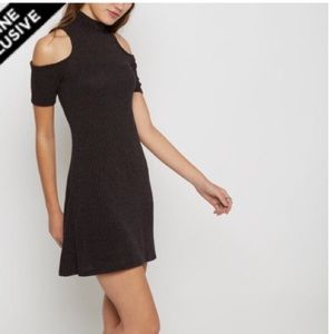 charcoal black cold shoulder mock neck knit dress