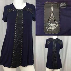 Twelve by Twelve  Dresses & Skirts - 💄NWOT Small Petite Faux Leather Cross Tunic Top