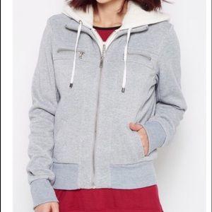 Gray layered fleece zip up  jacket with hood