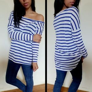 Tops - new| ROYAL WHITE STRIPED RELAXED TOP