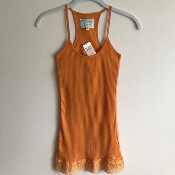 016033657cb2b Abercrombie   Fitch orange ribbed lace tank