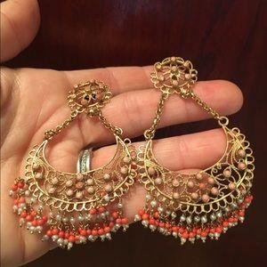 """Boho 3"""" Coral 14k Plated Brass Designer earrings"""