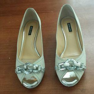 Alex Marie Shoes - Alex Marie White Leather Wedges Size 6.5M
