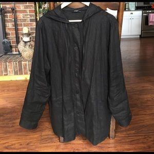 Jackets & Blazers - Black linen button down jacket or cover up