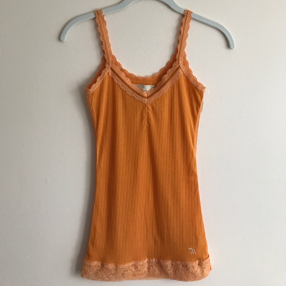 8948ae8d7b709 Abercrombie   Fitch Tops - Abercrombie   Fitch orange ribbed lace trim tank
