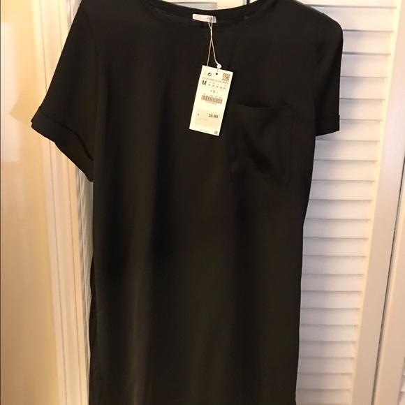 323e1cf1 ZARA Satin Pocket T Shirt Dress NWT