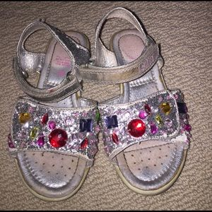 Lelli Kelly Kids Other - Lelli Kelly Silver sparkly bejeweled sandals 8/26