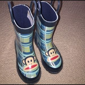 Paul Frank Other - Paul Frank teal plaid monkey rain boots M 7/8
