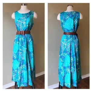 Vintage DVF 2 Piece Top and Skirt Set Teal Floral