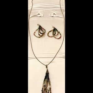 Jewelry - Genuine Tourmaline Pebble Necklace & Earring Set.