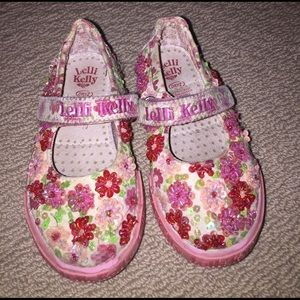 Lelli Kelly Kids Other - Lelli Kelly pink floral beaded Mary Jane's 26 US 8