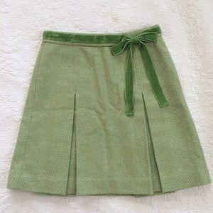 J. Crew Dresses & Skirts - JCrew Pleated Wool Tweed Velvet Ribbon Skirt