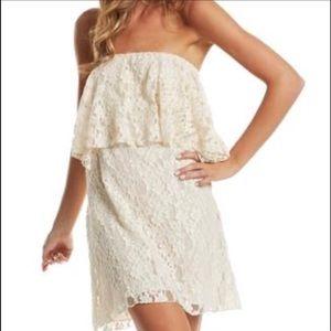 Elan Dresses & Skirts - Elan Lace Cream Tube Strapless Dress