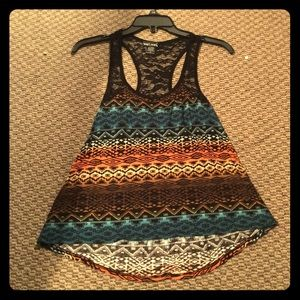 Tribal with black lace tank top