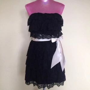 Betsy Johnson Evening Strapless Black Lace Dress