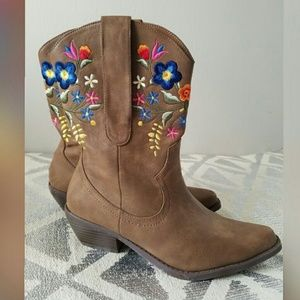 Call It Spring Shoes - Call It Spring Flower Embroidered Cowboy Boots