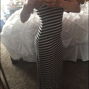 Black and white striped maxi dress !