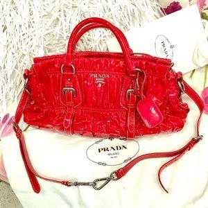 """Prada Handbags - PRADA PATENT """"ROSSO VERNICE GAUFRE"""" Bag"""