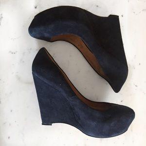 L.A.M.B. Shoes - L.A.M.B. Plum Suede Wedge in Navy