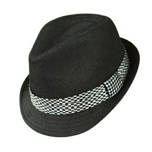 Westend Other - Black Fedora with Checkered Band