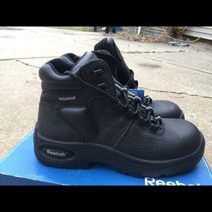 Women's Reebok Black Leather Work Boots 9M NWT