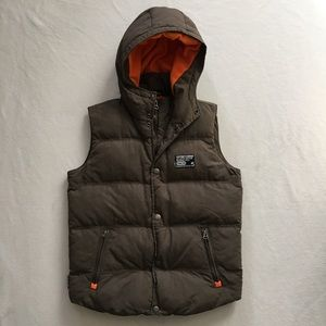 Superdry Other - Men's Dark Olive Green Hooded Camping Puffy Vest