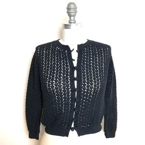 Vince Sweaters - VINCE. Black Knit Crocheted Cardigan