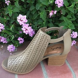 SHOEROOM21 boutique Shoes - Ladies high top peep toe ankle strap sandal. Taupe