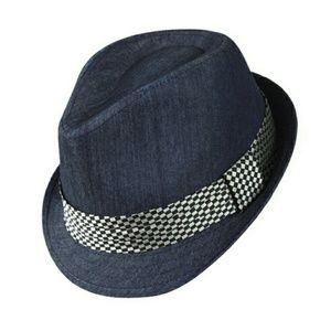 Westend Other - Navy Fedora with Checkered Band