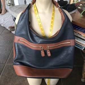 Cato black brown photo leather shoulder bag purse