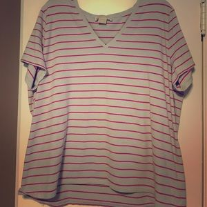 Michael Kors pink and gray striped tee