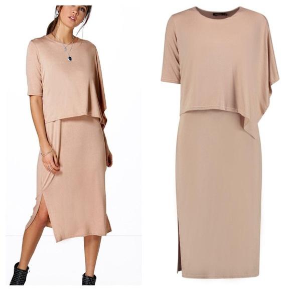 53a8a58fec6 Boohoo NWT Kayla Split Double Layer Midi Dress