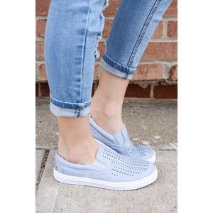 Fabfindz Shoes - Ash Blue Slip on Sneakers