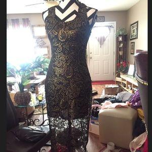 Black n gold lace dress