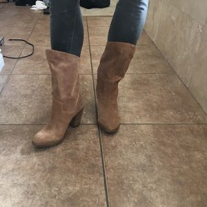 "Lucky brand booties; size 8 tan suede; 3"" heel"