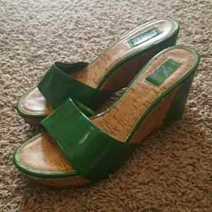 Sbicca Shoes - Green Cork Wedges