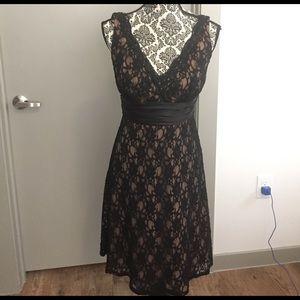 SL Fashions Dresses & Skirts - Beautiful dress black lace nude underneath