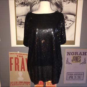 Loveappella Tops - Black Sequined Shirt