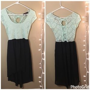Dresses & Skirts - Mint and black high low dress with bows
