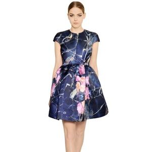 MSGM Dresses & Skirts - MSGM Blue Floral Printed Duchesse Dress